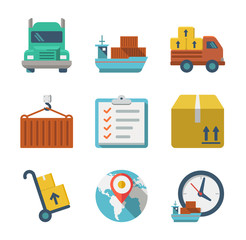 Delivery person freight logistic business industry icons flat