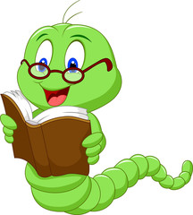 Cartoon worm reading book