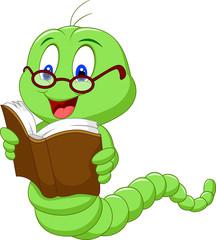 Cartoon worm reading book
