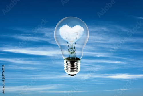 hearts in light bulb with the power of nature