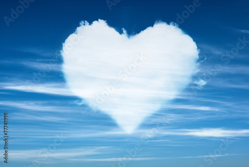 blue sky with hearts shape clouds