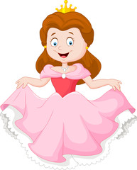Cartoon princess in pink dress