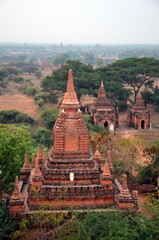 Dawn over Bagan, Myanmar. View of the ancient Buddhist stupas