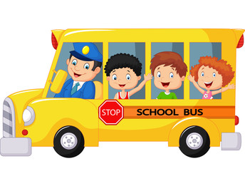 Happy children on a school bus