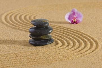 Japanischer ZEN Garten mit Steine und Sand