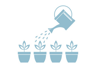 Watering can and plants on white background
