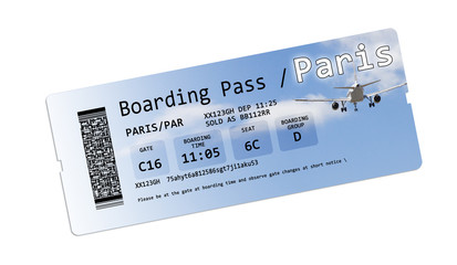Airline boarding pass tickets to Paris isolated on white