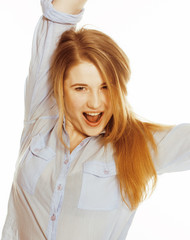 cute young woman making cheerful faces on white background, mess
