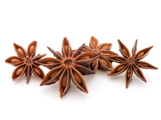 Star anise spice fruits and seeds isolated on white background c