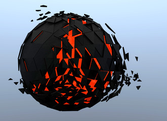 Sphere Shattered Abstract 3d isolated on background