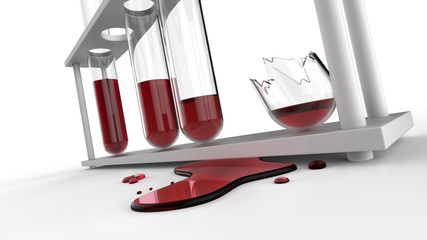 Puddle of blood and splinter of test tubes