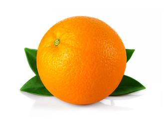 Ripe orange fruit with leaves isolated on white