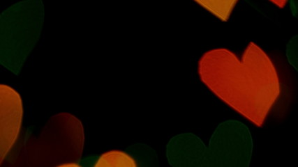 Blurred hearts motion background, bokeh. 4K UHD 2160p footage.