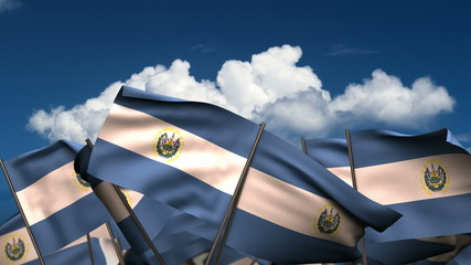 Waving El Salvadorian Flags