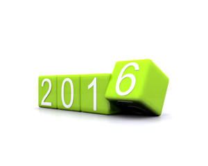 3D illustration - dice with new year 2016