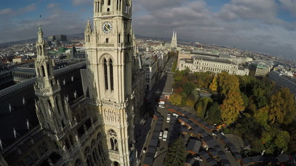 Aerial view on Rathaus (Town Hall) in Vienna.