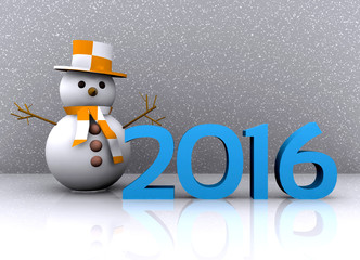 3D illustration - snowman to welcome the new year 2016