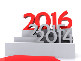 3D illustration - Here comes the new year ... 2016