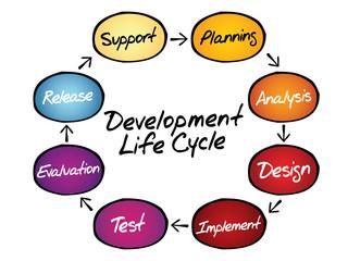 Circular flow chart of life cycle development process