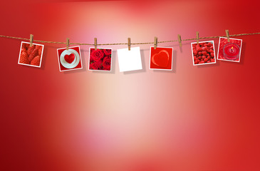 Clothesline with pictures on red background