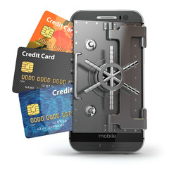 Safety of mobile banking concept. Secure online payment. Smartph