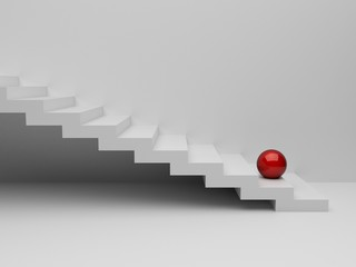3d red sphere on white stairs. render