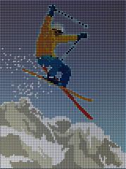 Sciatore in salto con montagna composto da pixel