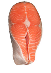 raw salmon steak isolated on white background