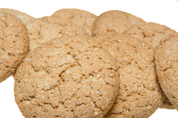 some oatmeal cookies isolated on white background