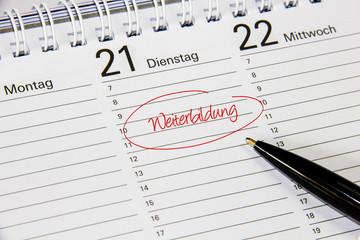 Kalender mit Notiz Weiterbildung
