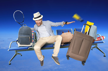 Tourist in the hat flies on the seat with your Luggage