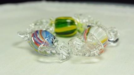 Rotating glass blown candies
