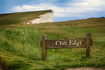 Cliff edge warning in Dover