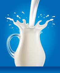fresh Milk in jug with splash on blue background