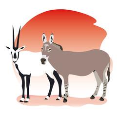 oryx donkey desert illustration