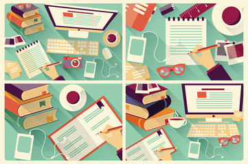 Collection of four flat design work desks, stationery