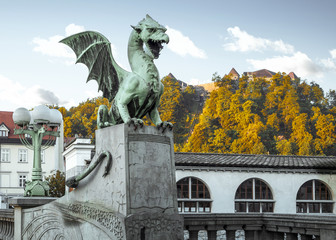 Statue of dragon in the old town of Ljubljana
