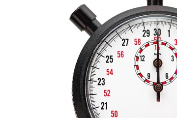 close up image of a cropped stopwatch on white