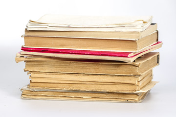 Pile of old vintage books
