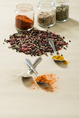 Colourful spices on the table