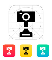 Digital camera icon on white background.