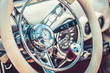 Retro interior of vintage car. Vintage effect processing - 77762338