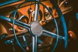 Interior of vintage car. Vintage effect processing - 77762321