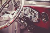 Interior of old vintage car. Vintage effect processing - 77762392