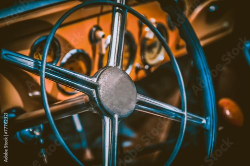 Interior of vintage car. Vintage effect processing Poster