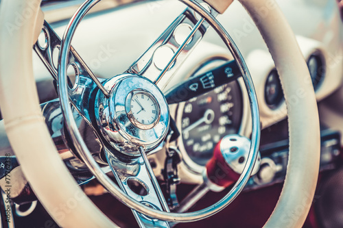 Retro interior of vintage car. Vintage effect processing Poster