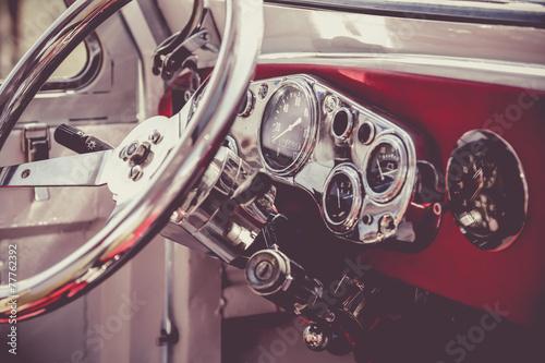 Interior of old vintage car. Vintage effect processing Poster