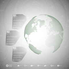 World globe. Infographic template for business design, abstract
