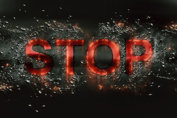 The word Stop in fragments explosion