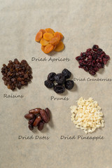 Various dried fruit on the table